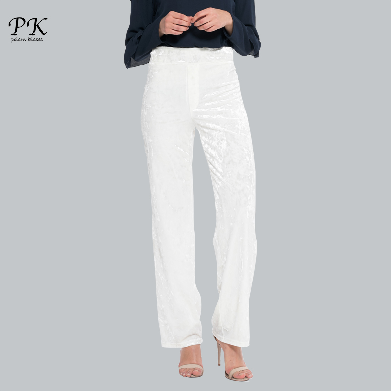 PK Velvet White   Pants   Women Autumn High Waist Casual Trousers Femme Wide Loose Bottom Female   Pants     Capris   Solid Women Work   Pants
