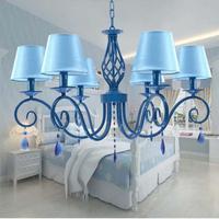 Гардеробная синий кристалл кулон люстра с абажуром малыша Обеденная Спальня люстра дома и сада Art декор, освещение