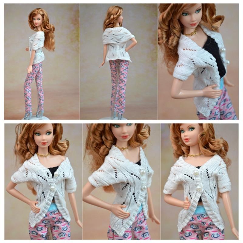 Ručno izrađena lutka Accesssories Pleteni džemper kaput za Barbie - Lutke i pribor - Foto 2