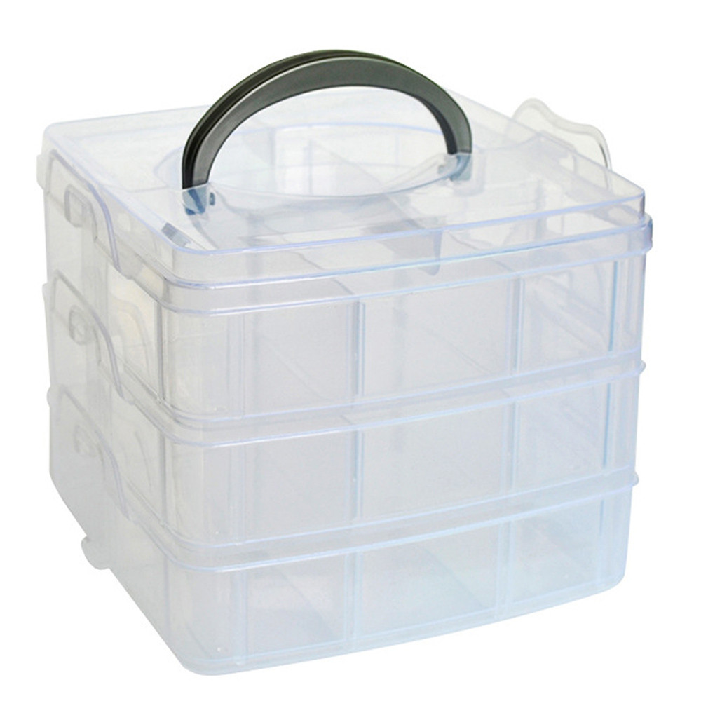 Clear plastic craft beads jewellery storage organizer tool for Craft storage boxes plastic