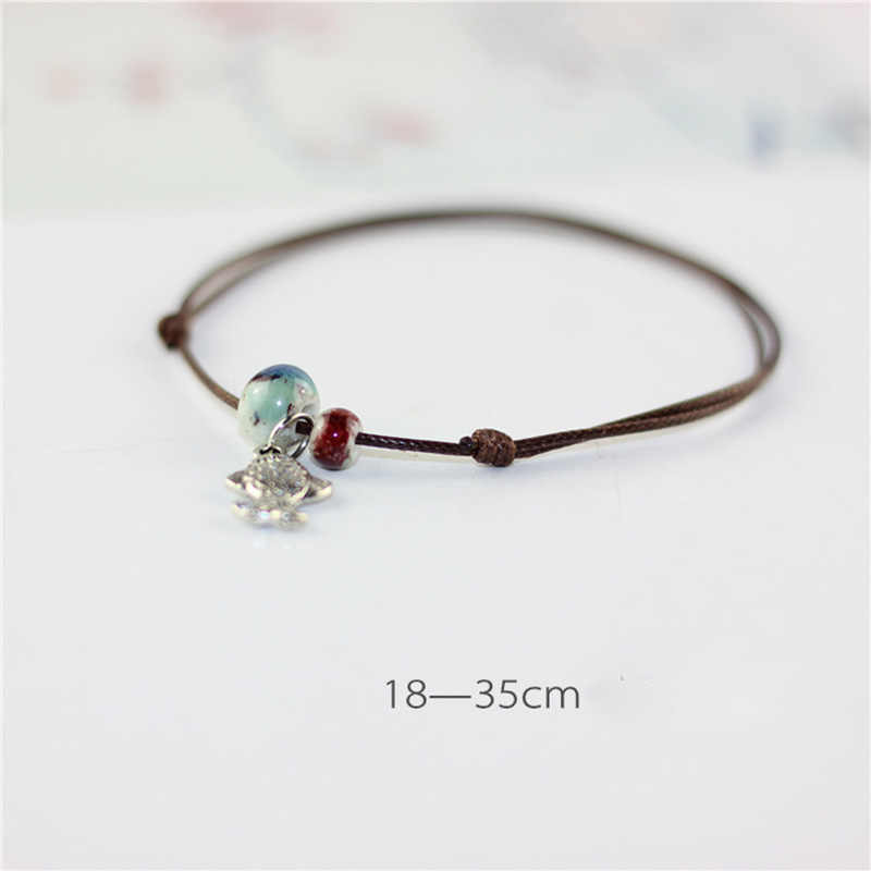Brown Rope Bohemian Vòng Chân Chain Gốm Sứ Hạt Chains Barefoot Chân Phụ Nữ/Men Bạc Màu Fish Pendant Charm Bracelet Trang Sức
