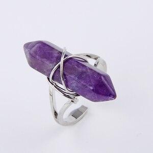 Женское кольцо с шестигранным кварцем, аметист из натурального камня с фиолетовым кристаллом, Ювелирное Украшение
