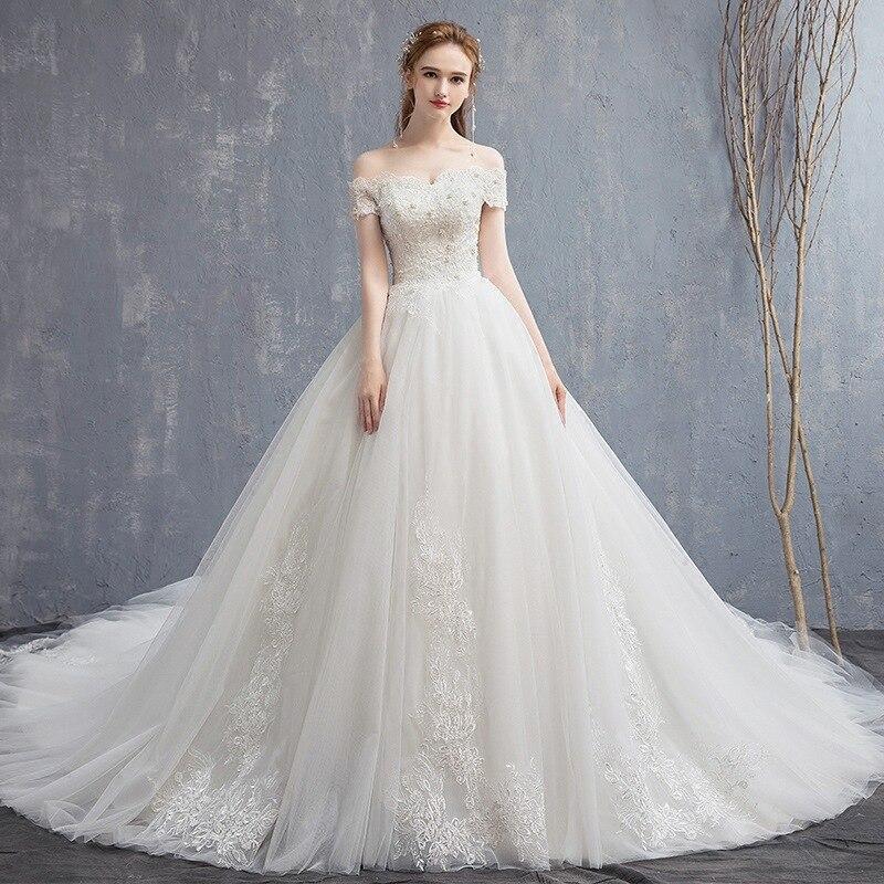 New Arrival 2019 Vestido de noiva A Line Court Train Wedding Bride Dress Custom made Modest