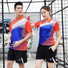 ZMSM Women/Men Turndown Collar Badminton Wear Table Tennis Set Training Suit Shirts Shorts & Skirts Sports clothes Y126