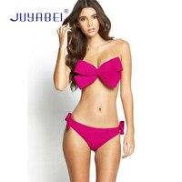 JUYABEI Sexy Girl Bandeau Bikini 2018 Big Bow Ladies' Swimwear Triangle Strap Women Swimsuit Pink Red Cute Beach Bathing Suits