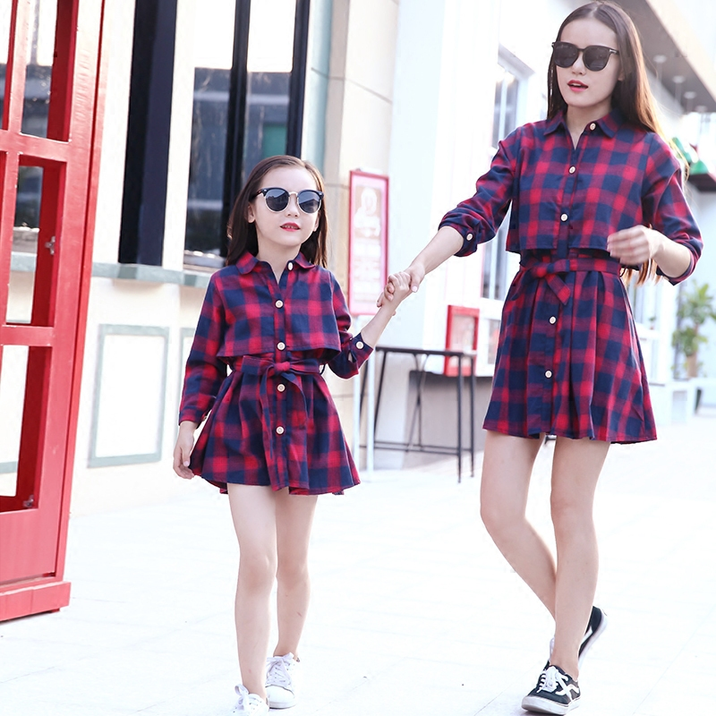 Mother Daughter Dress Clothes Mommy and Me Long Sleeve Family Matching Outfits Lattice Shirt Dresses Woman Girls Fashion Clothes