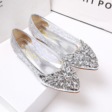 Lace shoes Rhinestone pointed toe flat heel women's single shoes lace shoes network flat sandals female breathable gauze shoes