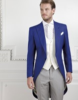 Koningsblauw Bruidegom Morning Suits Stalknecht Wedding Prom Suits (Jas + Broek + Vest + Tie) H: 045