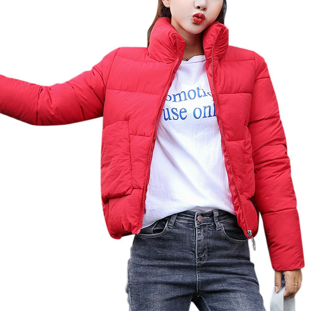 MISSKY Autumn Winter Women   Parkas   Solid Color Slim Jacket Stand Collar Soft Warm Cotton Jacket