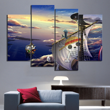 4 Panels HD Cartoon Pictures ONE PIECE Going Merry Anime Poster Artwork Canvas Paintings for Home Decor
