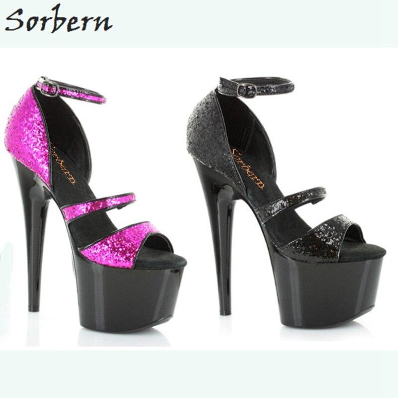 Sorbern Shiny Sandals Ankle Strap Open Toe Kitten High Heels Designer Brand Luxury Women Shoes Summer Size 10 Platform Sandals