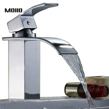 Waterfall Bathroom Sink Faucet Brass Basin Faucets Single Handle Vanity Vessel Sinks Mixer Hot Cold Water Tap Deck Mount Taps стоимость