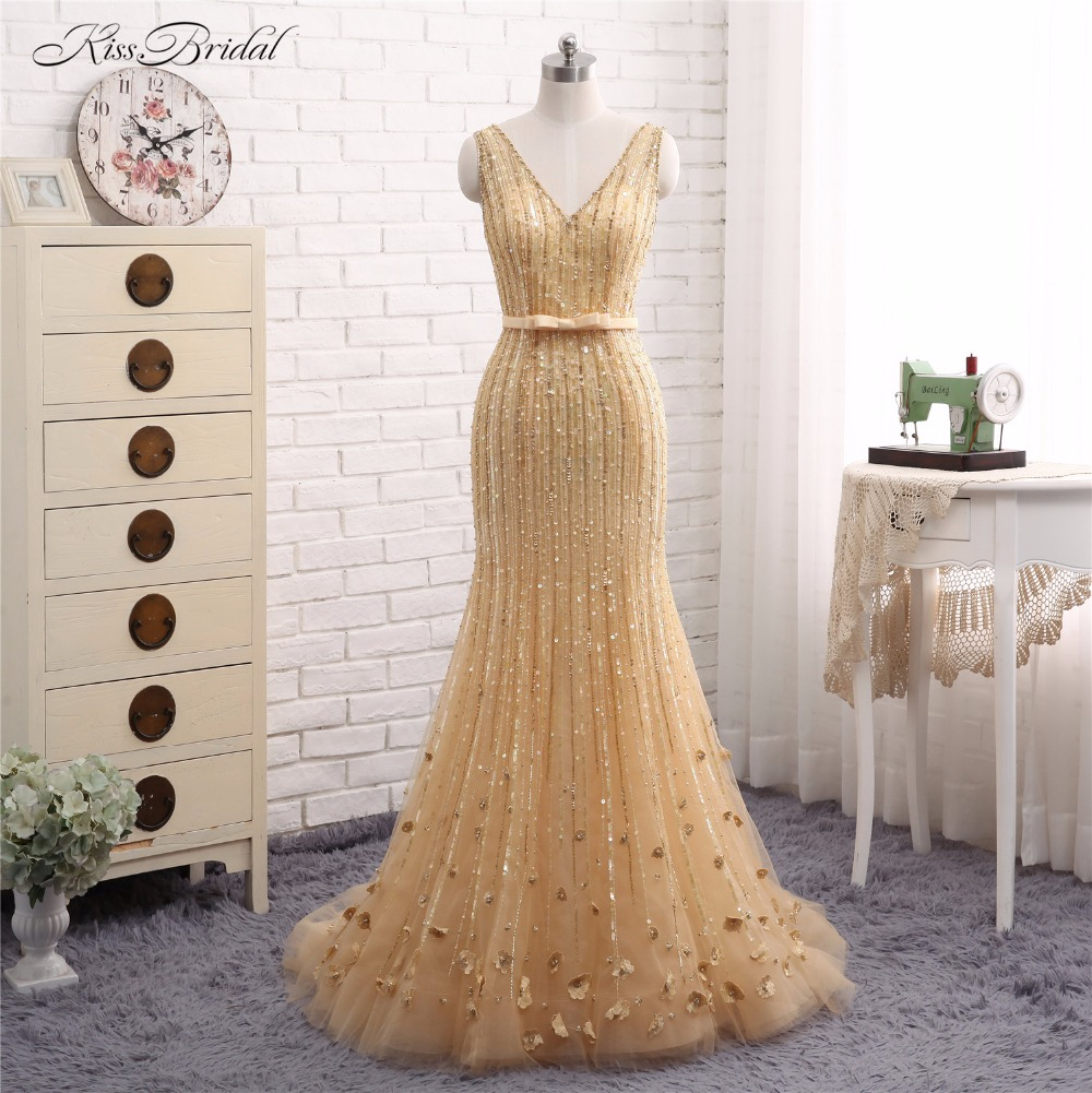 Sexy Mermaid V Neck   Evening     Dresses   Long Abendkleider Robe de Soiree 2017 Crystal Beaded Party Prom Gown Vestido de Festa