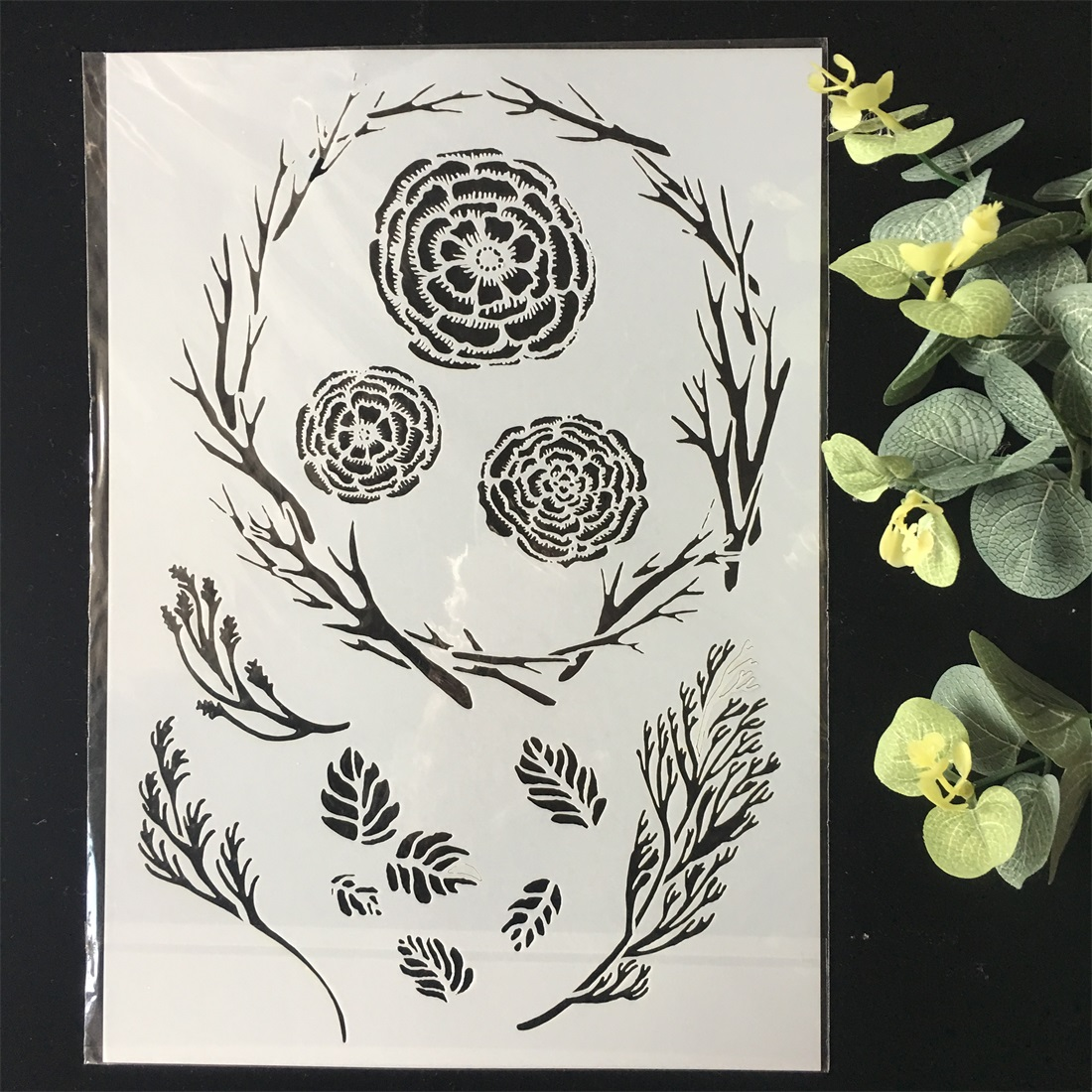 New A4 Branch Flower Circle DIY Layering Stencils Wall Painting Scrapbook Coloring Embossing Album Decorative Card Template
