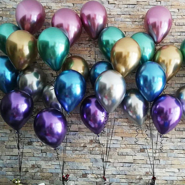 10PCS Rose gold latex balloons sliver chrome balloons birthday party decor Metallic Balloon Wedding decoration Pearlescent