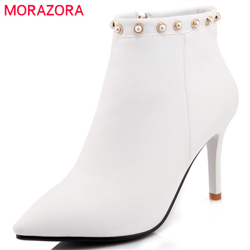 MORAZORA Sexy lady womens boots in spring autumn high heels boots for women PU soft leather ankle boots fashion big size 34-42 hot sale big size 32 44 fashion spring autumn women shoes sexy solid pu leather platform ankle strap high heels augz 958