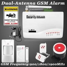 Rusia Surtida Ruso/Inglés de Voz Inalámbrica GSM Sistema de Alarma de Doble Antena de Seguridad Sistemas de Alarma Hogar Alarma con detector PIR