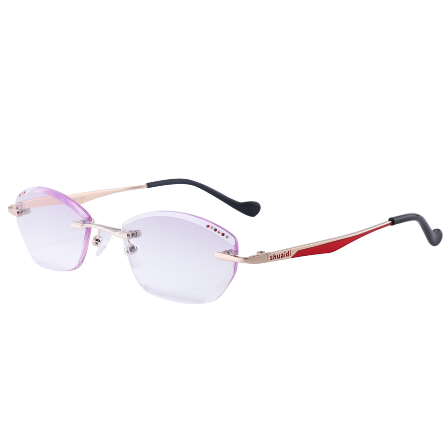 Brand Rhinestone Rimless Reading Glasses Women Purple Lenses Womens Readers Presbyopic Glasses