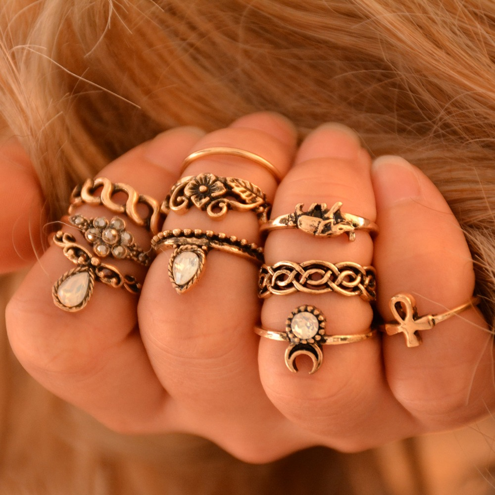 10pcs Set Ethnic Vintage Elephant Ring Carved Flower Bohemian Silver Plated Wedding Rings Bague Femme Fashion Jewelry In From