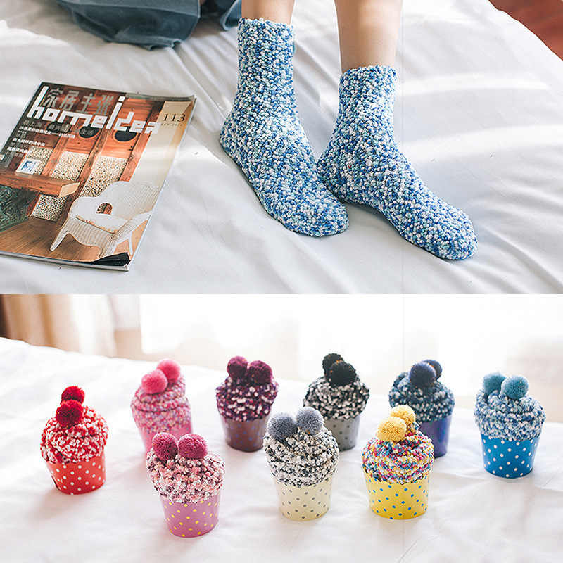 Christmas Lady Soft Floor Home Clothing Accessories 1 pair Candy Women Fluffy Socks Warm Winter Cosy Lounge Bed Socks Xmas Gift