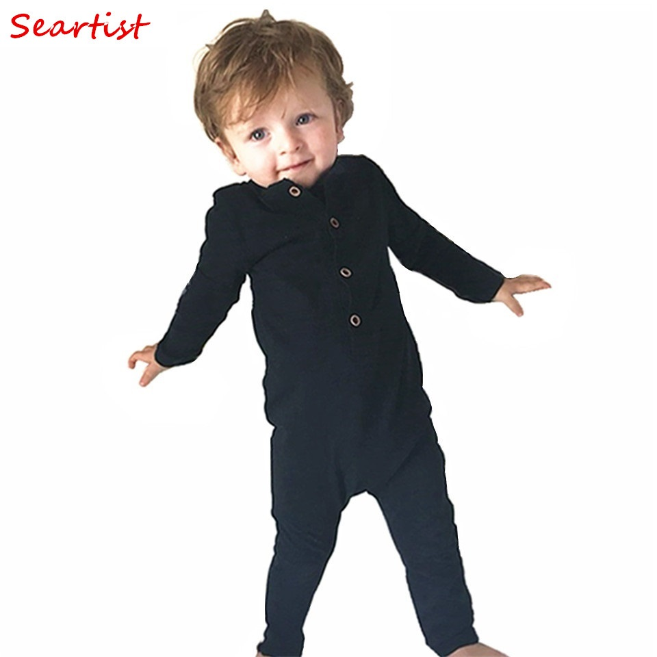 Seartist Baby Boys Mamelucos Recién nacido Algodón Mono de manga larga Niño Otoño Primavera Liso Negro Gris Jumper Pijamas 2019 Nuevo 30C