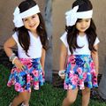 Varejo Verão Crianças Conjunto de Roupas Meninas Cortar camisa Branca de T e Saias Florais Bebê Meninas Roupas Set 1-4 Criança Meninas roupas