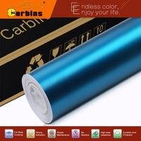 New Color Light Blue Matte Chrome Vinyl Car Wraps Satin Metallic Chrome Car Stickers Auto Covering