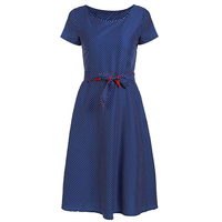 2018 Summer New Retro Hepburn Style Waist Belt Big Swing Dress Printing Stitching Temperament Commuting Dress