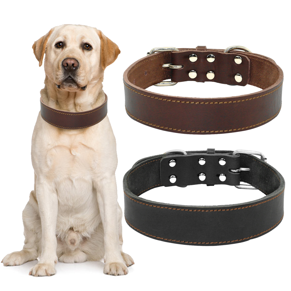 Heavy Duty Genuine Leather Dog Pet Collar Real Leather Dogs Collars For Medium Large Dogs