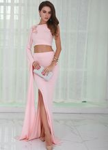 Pink One Shoulder Evening Dress Two Piece Sexy Embroidered High Split Gown