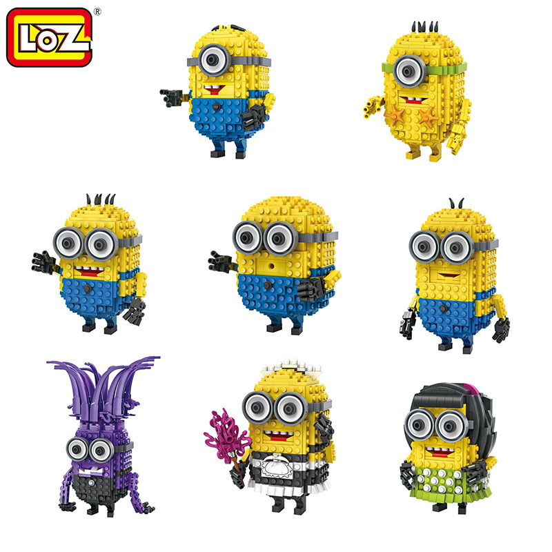 LOZ Small Plastic Bricks Minion Micro Blocks Cartoon DIY Building Toys Pegman Auction Figures Toy Kids Gifts 1201-1208 32 32 dots plastic bricks the island straight crossroad curve green meadow road plate building blocks parts bricks toys diy