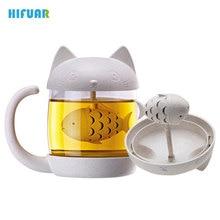 Hifuar 250ml Cartoon Coffee Tea Mug Personality Glass Mug With Infuser Hand