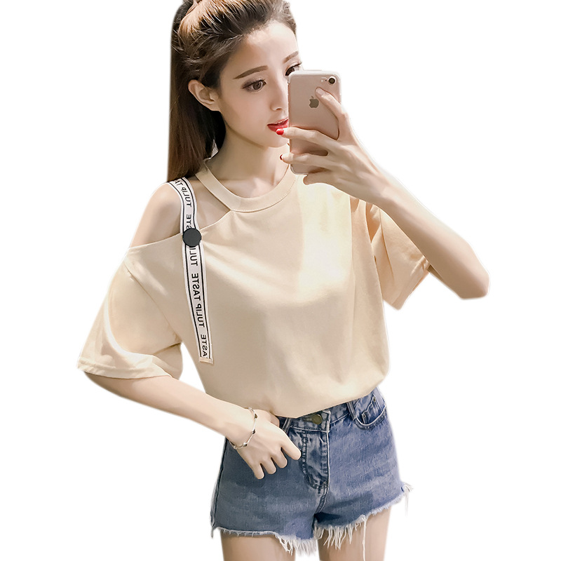 AmberHeard 2018 Summer Korean Basic T-shirt Women Casual Sexy Ladies Strapless Ribbon Top Tshirt Tumblr Tshirt For Women Clothes
