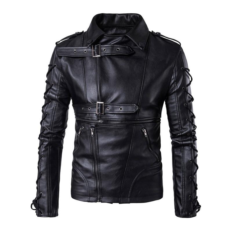 Новый Ретро из искусственной кожи Мото-куртки Для мужчин завязки Moto Куртки хип-хоп Уличная Байкер классический Кожаные куртки Размеры M-5XL