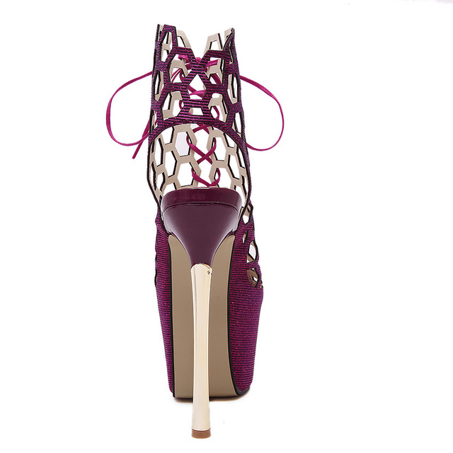 Luxury Sexy Party Shoes Woman Peep Toe Ankle Boots Summer Platform Ultra Very High Heel Stiletto Sandals Cut Out Fetish Shoes