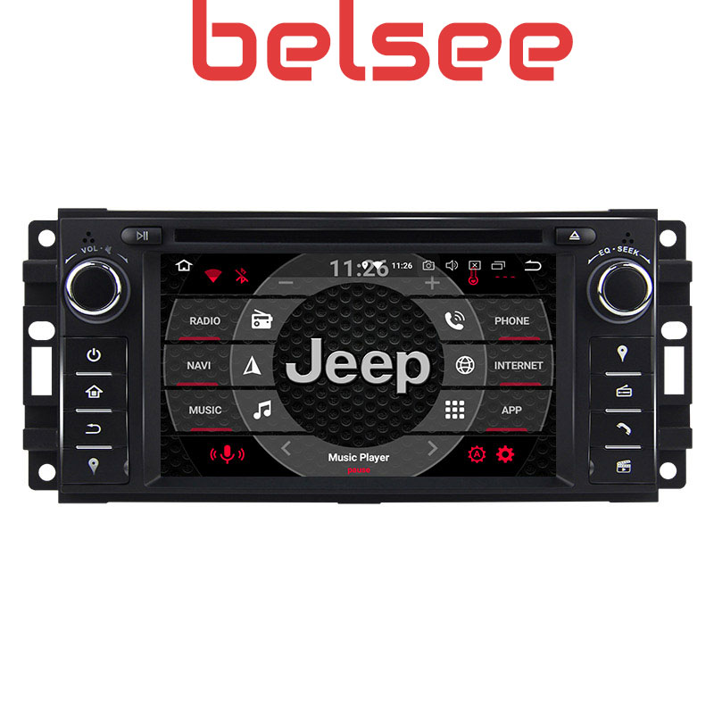 Belsee Octa Core Ram 4GB Android 9.0 Head Unit Car Radio Stereo Multimedia GPS Navigation for Jeep Wrangler Dodge <font><b>Chrysler</b></font> <font><b>300C</b></font> image