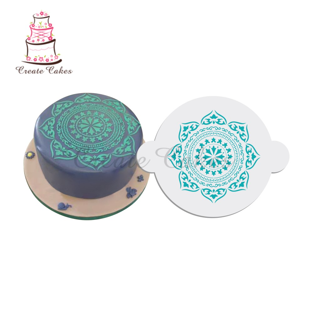 Plantilla de pastel de medallón marroquí, plantilla superior de pastel, plantillas de flores para decoración ST-142