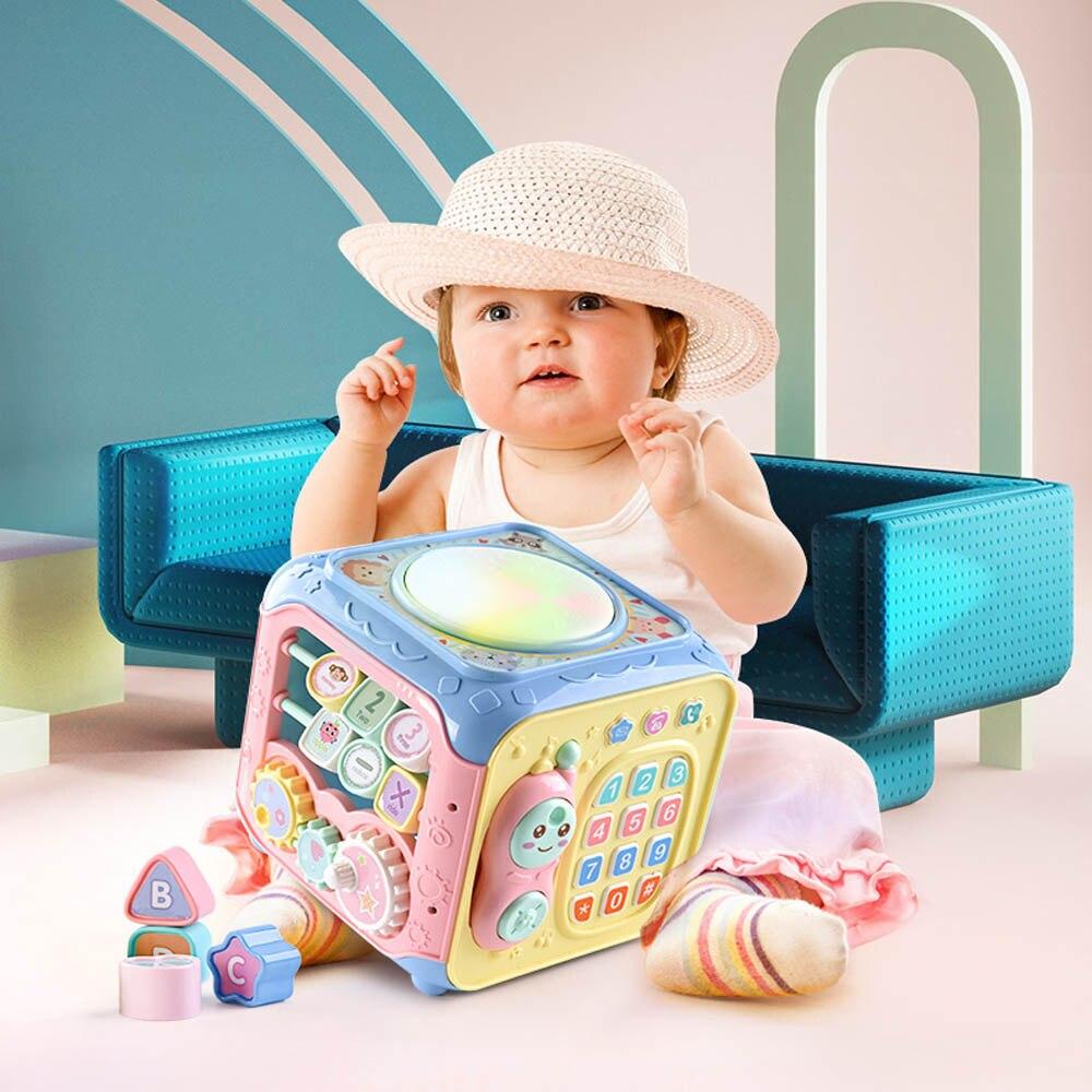 Infantile bébé multi-fonction boîte à musique électronique engrenage géométrie blocs arrangé puzzle boîte à musique jouet bébé