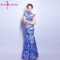 Chinese Style Evening Dresses 2017 Blue And White Sexy High Zipper Cap Sleeve See Through Mermaid
