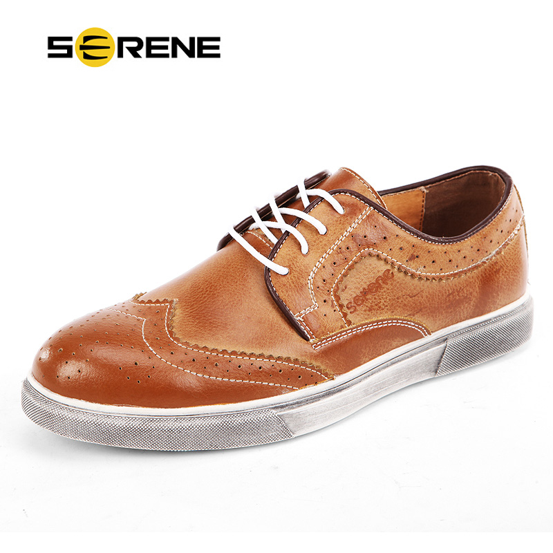 SERENE High Quality Men Oxfords Shoes British Style Carved Leather Shoes Brogue Shoes Lace-Up Bullock Business Men's Causal Shoe tidog british style leather shoes men shoes toe shoes bullock carved layer of leather casual shoes