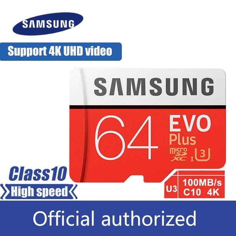 100% original Samsung micro sd cartão de Memória flash de 128gb 100 MB/s 32gb 64gb cartao de memoria Classe 10 UHS-I U3 4K cartão de 256gb TF