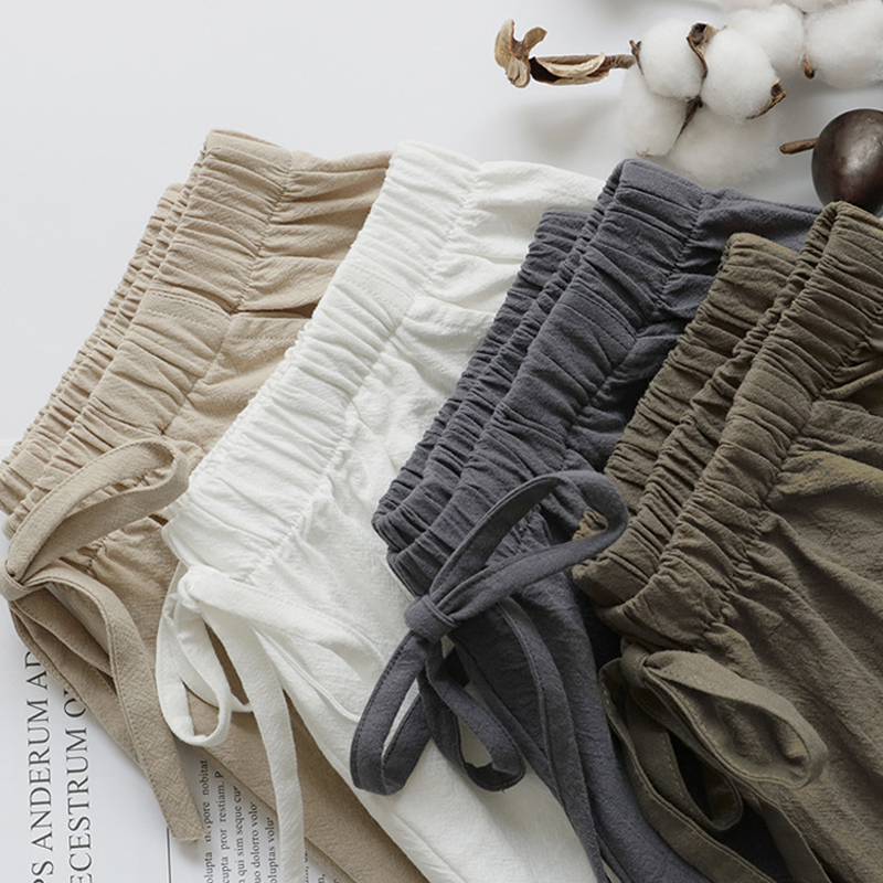 2020 Cotton Linen Shorts Women Summer Shorts Trousers Feminino Women's High Elastic Wasit Home Loose Casual Shorts With Pockets 1