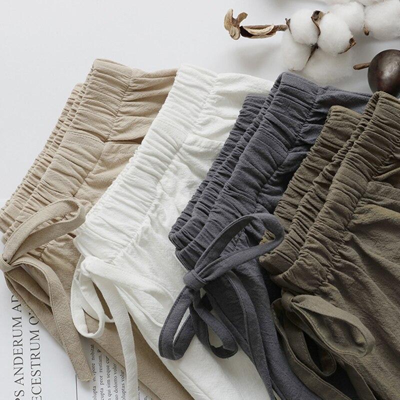 Женские летние шорты из хлопка и льна, повседневные свободные шорты с карманами, модель 2020