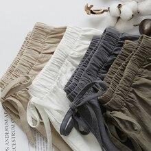 Шорты женские из 2020 хлопка и льна, штаны с высокой эластичной талией, домашние Свободные повседневные с карманами, лето