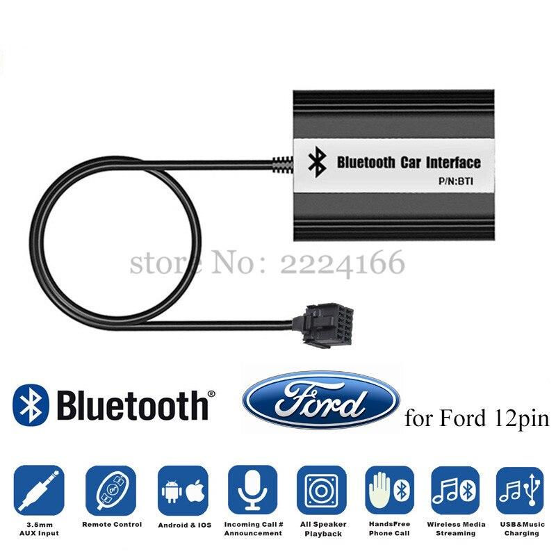 Nouvelle Voiture Bluetooth A2DP Adaptateur pour Ford Focus Galaxy Ka Mondeo C-Max Interface 12 Broches MP3 Lecteur de Musique Kit de recharge