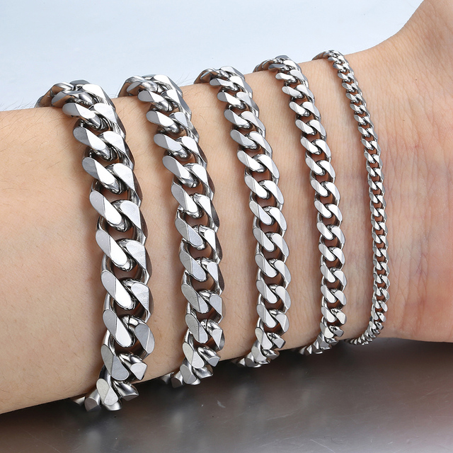 """3-11 мм Мужские браслеты серебряные браслет из нержавеющей стали кубинские звенья цепи браслеты для мужчин женщин оптовая продажа ювелирных изделий подарок 7-10 """"KBM03"""