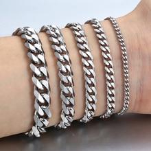 3-11mm Men's Bracelets Silver Stainless Steel Curb Cuban Lin