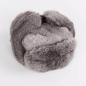 Image 4 - Nowy rosyjski zima Unisex prawdziwe królik futro bombowiec kapelusz mężczyźni ciepłe 100% naturalne futra królika kapelusze męskie pełna Pelt futro czapka z futra królika