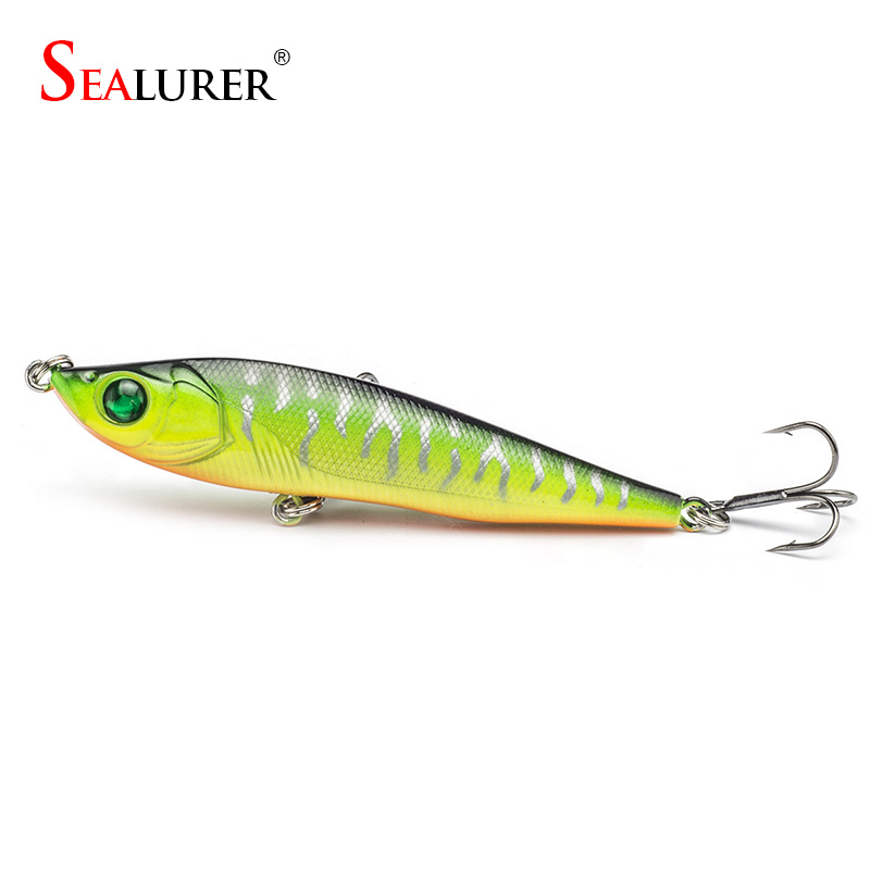 New 1PCS 8cm 14g Hard Pencil Fishing Lure Lifelike 3D Eyes 2# Hooks Sinking Plastic Baits Crankbait 5 Colors Available lifelike earthworm style fishing baits 5 pcs