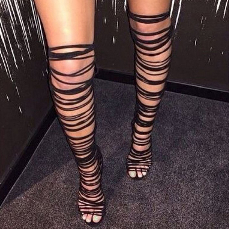 DiJiGirls Women Lace Up Strappy Knee High Boots Gladiator Roman Sandals Open Toe Cut Out Fringe Fetish Shoes Stilettos Pumps top selling open toe lace up flat gladiator strappy sandals fashion slingback sandal boots beach vocation dress shoes woman